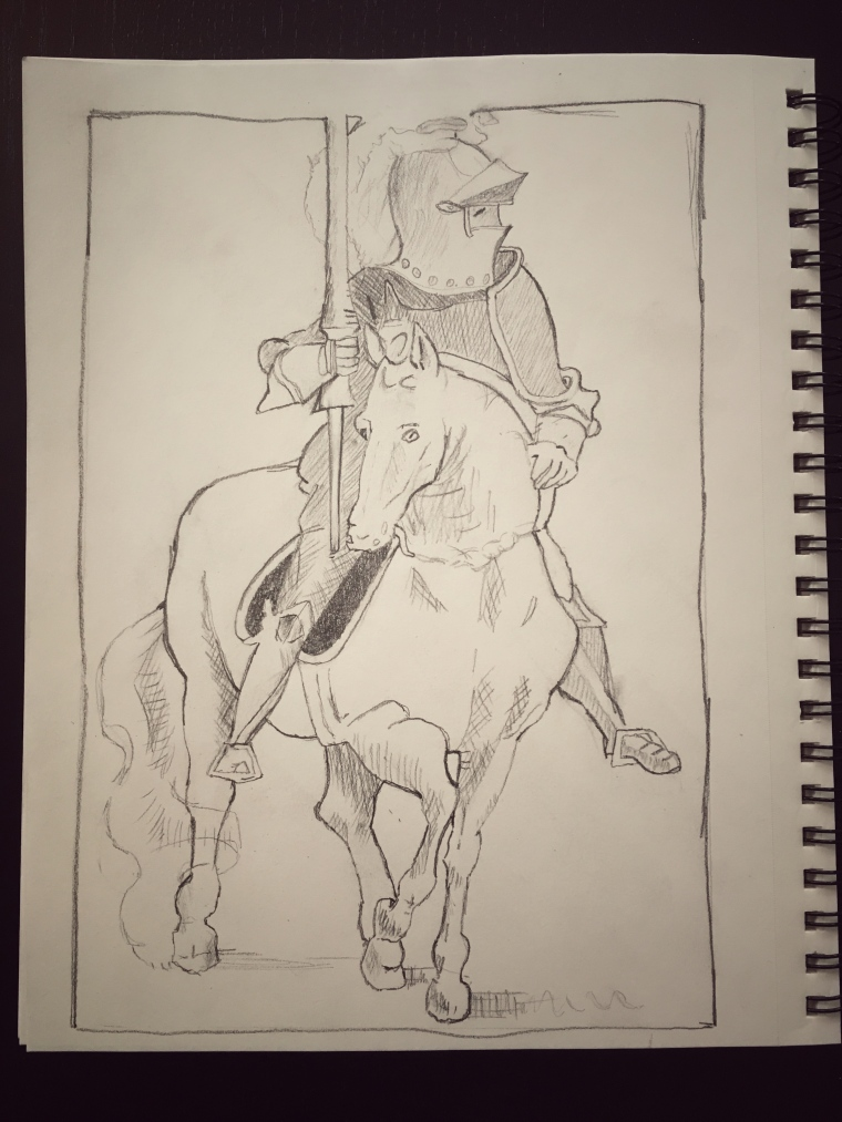 Drawing of a knight with a lance, riding on a horse. Drawn in a sketchpad.