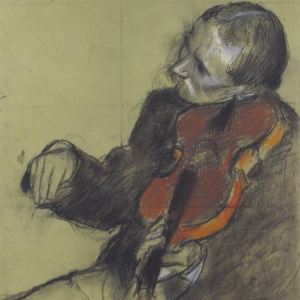 """""""The Violinist"""" by Degas. A charcoal sketch of a man with a moustache playing a violin. His head is tilted to his left sharply in order to hold the violin. His right hand is bowing."""